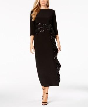 R & M Richards Cascading Sequin-Embellished Dress