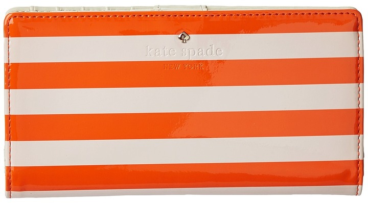 Kate Spade Harrison Street Stripe Stacy (Blush/Surprise Orange) - Bags and Luggage