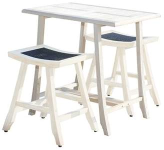 "Satori EcoDecors 3 Piece Pub Table Set EcoDecors Color: Coastal Vogue, Tabletop Size: 34"" H x 36"" W x 24"" D"