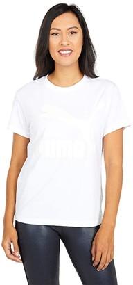 Puma Classics Logo Tee White/Glitter) Women's T Shirt