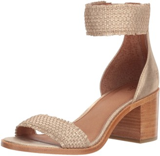 Frye Women's Bianca Woven Back Zip Heeled Sandal Gold 8 M US