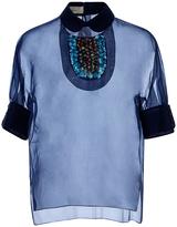 DELPOZO Embellished Collar Sheer Blouse