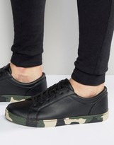 Asos Lace Up Sneakers In Black With Camo Sole