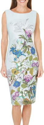 Gabby Skye Women's Sleeveless Garden Printed Sheath Dress