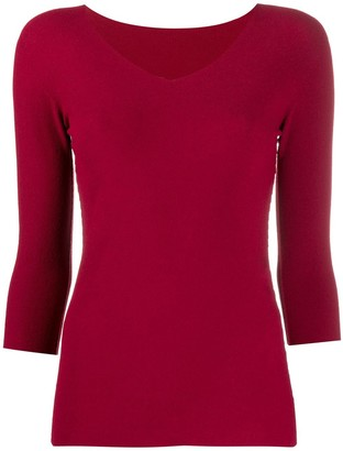 Giorgio Armani Fitted V-Neck Jumper With Crop Sleeves