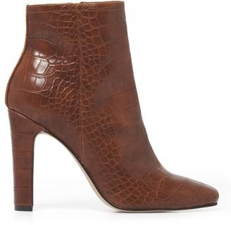 Forever New Chloe Thin Block Heel Boot - Tan Croc - 38