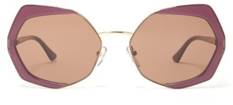 Marni Oversized Geometric Metal Sunglasses - Womens - Purple