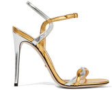 Gucci Two-tone Metallic Leather Sandals - Gold