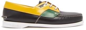 Prada Leather Deck Shoes - Mens - Black Multi