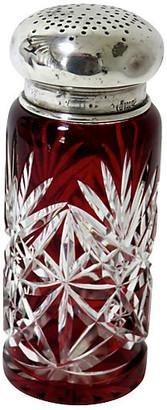 One Kings Lane Vintage Antique Ruby Cut Crystal Sugar Shaker - Rose Victoria