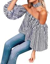 Fashion Story Women's Halter Strapless Off Shoulder Striped Blouse White