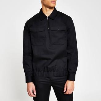River Island Mens Black long sleeve half zip 2 pocket overshirt