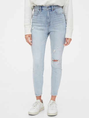 Gap Sky High Destructed True Skinny Ankle Jeans