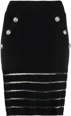 Balmain Logo Button Pencil Skirt