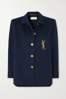 Saint Laurent Embroidered Wool-blend Jacket - Navy