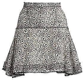 Derek Lam 10 Crosby Women's Floral Stretch Silk Flare Skirt - Size 0
