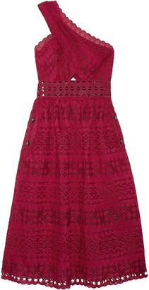 Self-Portrait One-shoulder Cotton-blend Guipure Lace Midi Dress