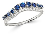 Bloomingdale's Blue Sapphire & Diamond Chevron Ring in 14K White Gold - 100% Exclusive