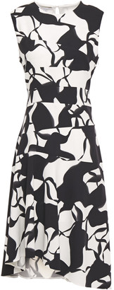 Narciso Rodriguez Asymmetric Printed Silk-blend Cady Dress