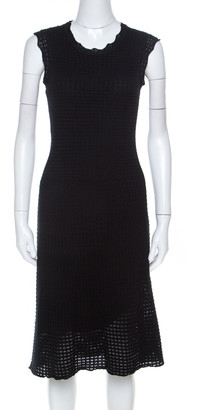 Louis Vuitton Black Crochet Knit Sleeveless Midi Dress S