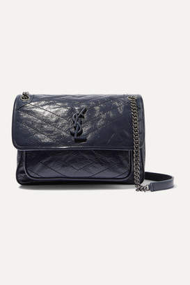 Saint Laurent Niki Medium Quilted Crinkled Glossed-leather Shoulder Bag - Navy