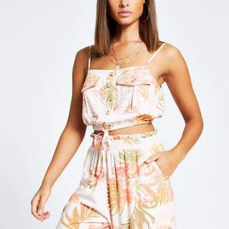 River Island Womens Pink printed button front cropped beach top