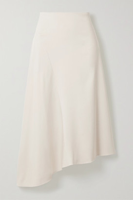 Vince Asymmetric Stretch-twill Midi Skirt - Off-white
