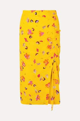Altuzarra Fausto Printed Silk Crepe De Chine Midi Skirt - Yellow