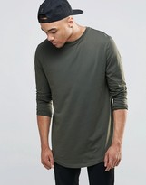 Asos Longline Long Sleeve T-Shirt With Curved Hem In Khaki