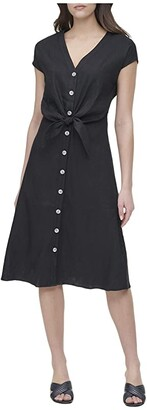 Calvin Klein Short Sleeve V-Neck Dress w/ Tie (Black) Women's Clothing