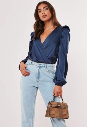 Missguided Navy Satin Wrap Over Puff Sleeve Bodysuit