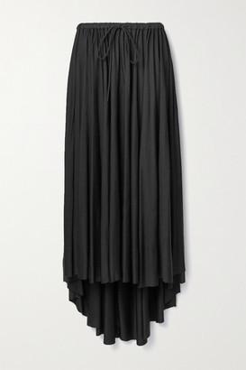 Proenza Schouler White Label Asymmetric Gathered Satin-jersey Midi Skirt - Black