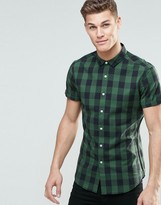Asos Skinny Shirt In Green Buffalo Plaid With Short Sleeves