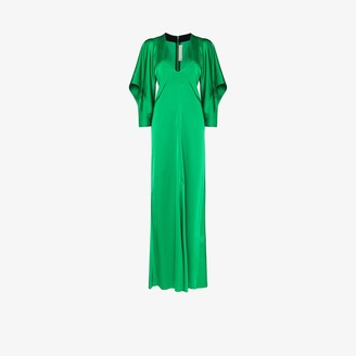 Victoria Beckham deep V-neck satin maxi dress