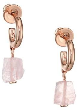 Monica Vinader Rose Quartz Huggie Hoop Drop Earrings