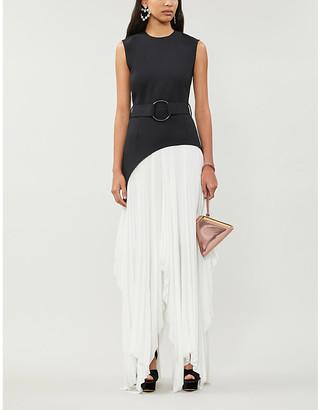 SOLACE London Anya asymmetric panelled crepe midi dress