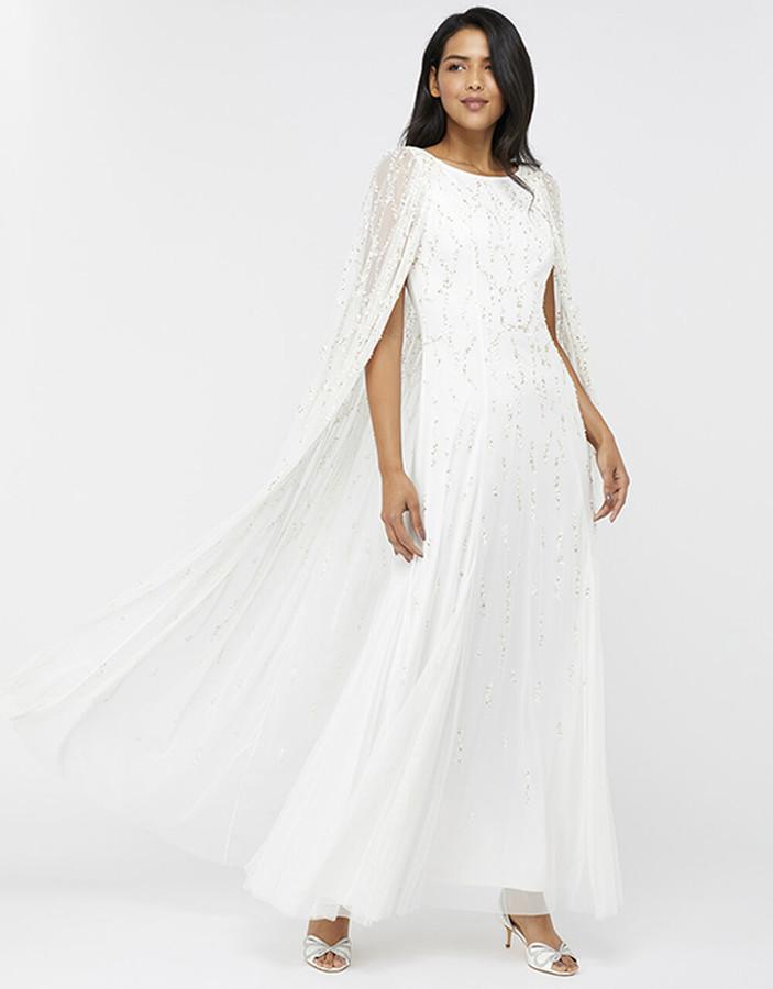 Under Armour Naomi Bridal Embellished Cape Maxi Dress Ivory