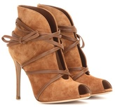 Gianvito Rossi Suede Open-toe Ankle Boots