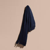 Burberry Oversize Aran Knit Wool Cashmere Scarf