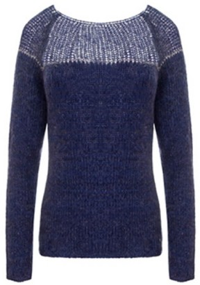 You By Tokarska Sweater With Silver Thread Navy Blue