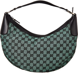 Gucci Green Gg Canvas & Black Leather Hobo Bag