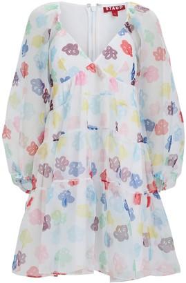 STAUD Meadow Floral Organza Mini Dress