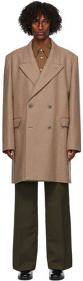 Lemaire Tan Wool Double-Breasted Coat