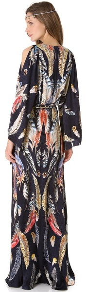 Temperley London Long Feather Print Dress