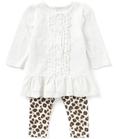 Starting Out Baby Girls 12-24 Months Long-Sleeve Ruffle Top & Leopard Leggings Set