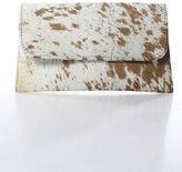 Elijah Jah White Brown Pony Hair Leather Clutch Handbag