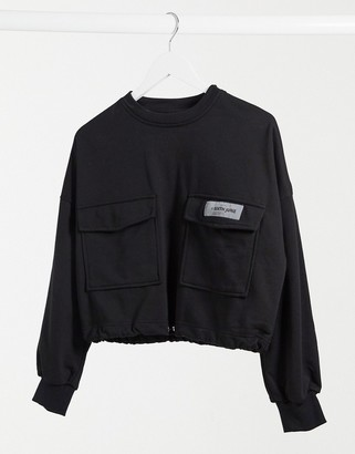 Sixth June cropped cargo sweatshirt with toggle waist in black