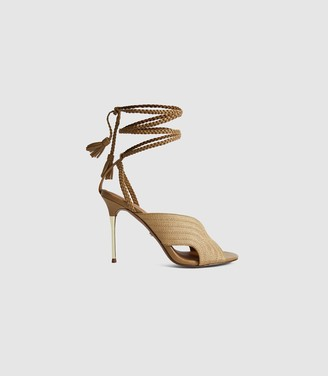 Reiss MINERVA BRAIDED ANKLE STRAP SANDALS Gold