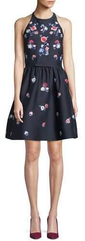 Kate Spade Pom Embroidered Floral Halter Dress