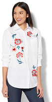 New York & Co. 7th Avenue - Madison Stretch Shirt - Embroidered Floral - White